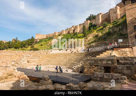 Malaga Spain. Malaga Alcazaba. Ancient Roman amphitheater with Alcazaba in background, Malaga, Andalusia, Spain - Stock Image