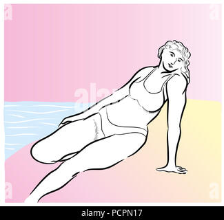Bikini woman in the beach.  Happy woman sitting on the sandbank and looking at us pink background. - Stock Image