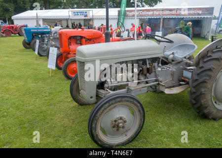 Vintage tractors on display at the 2018 South of England Agricultural Show, Ardingly, Sussex, UK - Stock Image