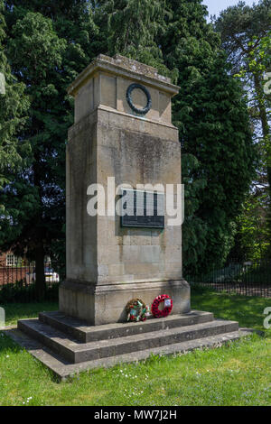 War Memorial to the dead of WW1 in the village of Great Brington, Northamptonshire; built in 1921 from Weldon stone in the form of a cenotaph - Stock Image