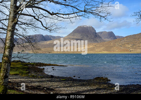 View across Loch Kishorn to Beinn Bhan, Applecross Peninsula, Wester Ross, Highland Region, Scotland - Stock Image