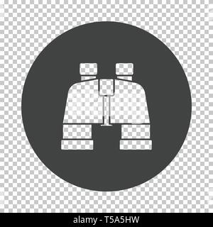 Binoculars  icon. Subtract stencil design on tranparency grid. Vector illustration. - Stock Image