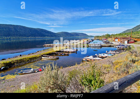Bowery Haven Marina & RV Resort, Fish Lake,  Aspen forest, Pando Clone, Fishlake National Forest, Wasatch Mountains. - Stock Image