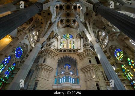 Sagrada Familia Cathedral interior - Stock Image