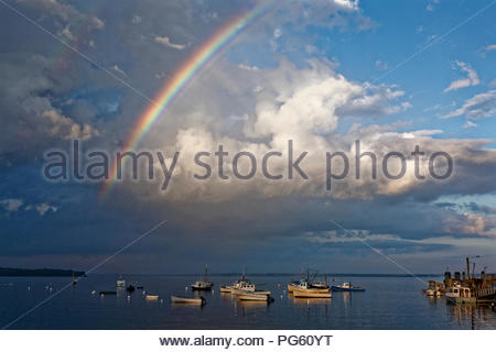 Rainbow at Lincolnville Beach, Maine - Stock Image