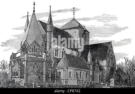 Nidaros Cathedral in Trondheim, Norway, Europe, historic engraving from 19th Century, Der Nidarosdom in Trondheim - Stock Image