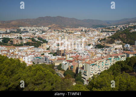 View of the north of Málaga city from Castillo Gibralfaro. Andalusia, Spain. - Stock Image