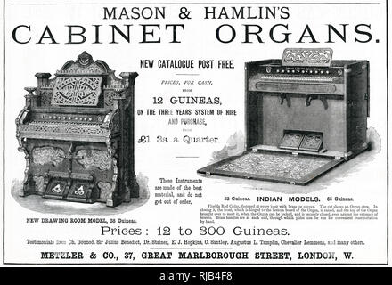 Advertisement for 'Mason's & Hamlin's', available with hire and purchase. - Stock Image