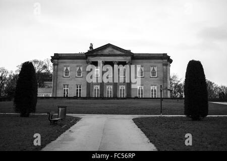 The Mansion in black and white at Roundhay Park, Leeds. - Stock Image