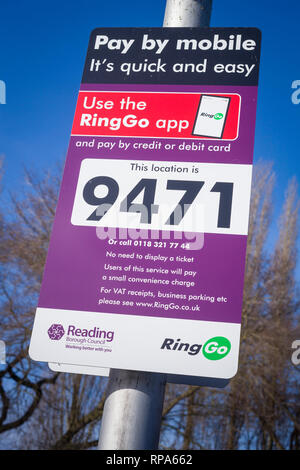 Ringo Parking sign for Pay By Mobile using the Ringo app in Kings Meadows, Reading, Berkshire, - Stock Image