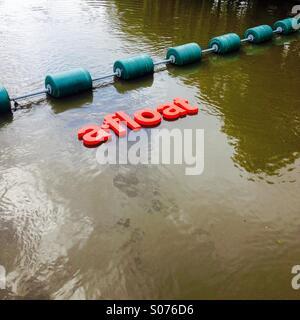 Floating conceptual art on river Cam, Cambridge, UK - Stock Image