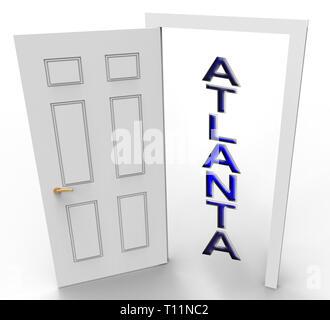 Atlanta Real Estate Doorway Shows Property Investment In Georgia. United States Housing Market 3d Illustration - Stock Image
