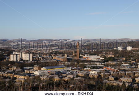 Elevated view of Lochee and Cox's Stack chimney Dundee Scotland  January 2019 - Stock Image