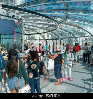 Passengers onboard the British Airways i360 observation pod, Brighton, East Sussex, England, UK - Stock Image