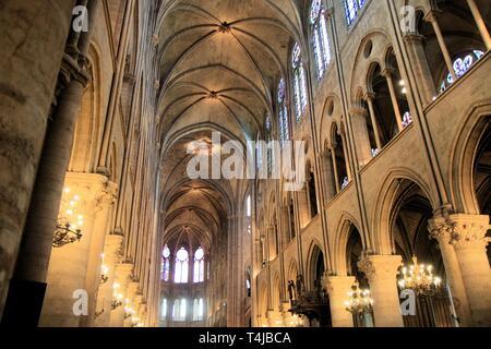 Notre Dame de Paris nave, France - Stock Image