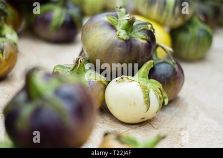 Heap of aubergines for sale located on the ground in a market in africa - Stock Image