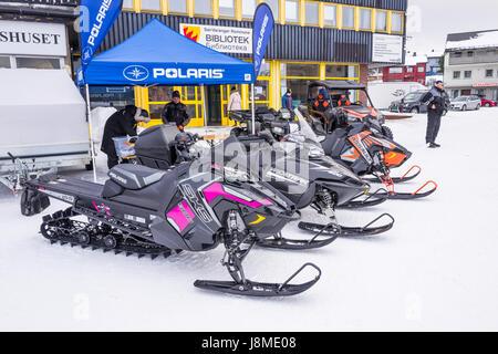 Exhibition of snowmobiles in Kirkenes, Finnmark County, Norway - Stock Image