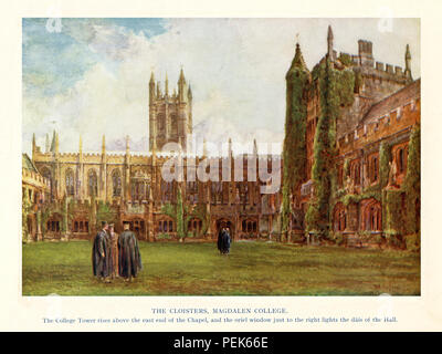 Magdalen College Cloisters, 1911 watercolour of the Oxford College with the Hall on the right and the famous tower beyond the chapel - Stock Image