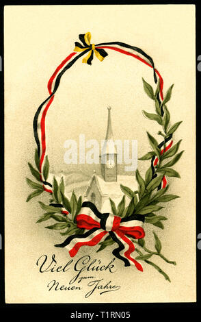 Germany, Schleswig-Holstein, Kiel, WW I, propaganda, patriotic New Year`s postcard with the text ' Viel Glück zum Neuen Jahr' (much luck in the new year), sent 30. 12. 1915. , Additional-Rights-Clearance-Info-Not-Available - Stock Image