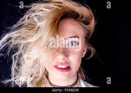 Messy hair, bad hair day, wild hair, untamed hair, out of control hair, funny hair, hair, messy, wild, bad, bad hair, style, hairstyle, unusual, - Stock Image