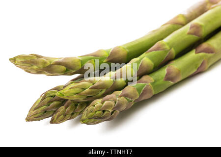 Fresh asparagus bunch isolated on white background - Stock Image