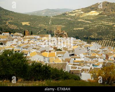Zuheros village amongst olive groves of Cordoba Province - Stock Image