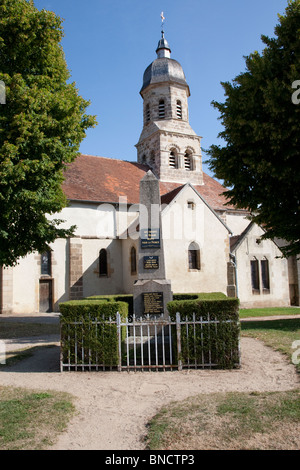 War memorial in the village of Louroux de Beaune, the Auvergne, France. - Stock Image