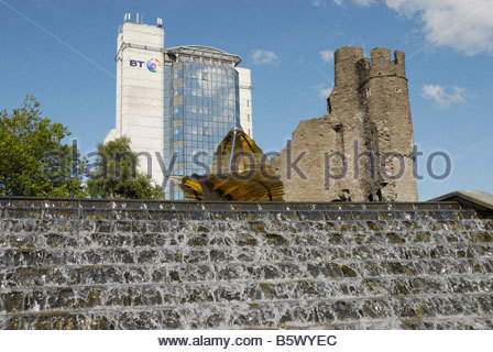 Cardiff Castle and BT Tower - Stock Image