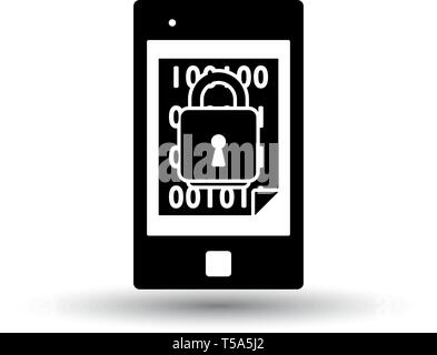 Mobile Security Icon. Black on White Background With Shadow. Vector Illustration. - Stock Image