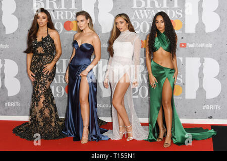 The Brit Awards 2019 held at the O2 - Arrivals  Featuring: Little Mix Where: London, United Kingdom When: 20 Feb 2019 Credit: WENN.com - Stock Image