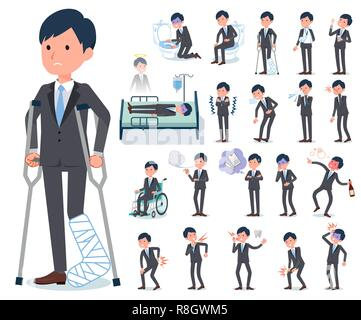 A set of businessman with injury and illness.There are actions that express dependence and death.It's vector art so it's easy to edit. - Stock Image