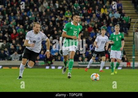 Belfast, UK. 21st Mar 2019. National Football Stadium at Windsor Park, Belfast, Northern Ireland. 21 March 2019. UEFA EURO 2020 Qualifier- Northern Ireland v Estonia. Action from tonight's game. Jordan Jones (15) Northern Ireland. Credit: David Hunter/Alamy Live News. - Stock Image