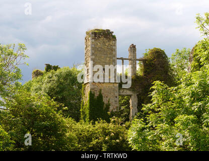 The ruins of 17th century Slingsby castle, North Yorkshire, England, UK - Stock Image