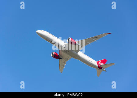 Virgin Atlantic Boeing 787-9 Dreamliner aircraft taking off from Heathrow Airport, Greater London, England, United Kingdom - Stock Image
