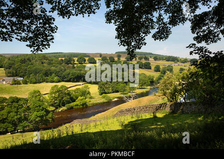 UK, Yorkshire, Wharfedale, Barden Bridge, River Wharfe valley from Water Gate Farm - Stock Image