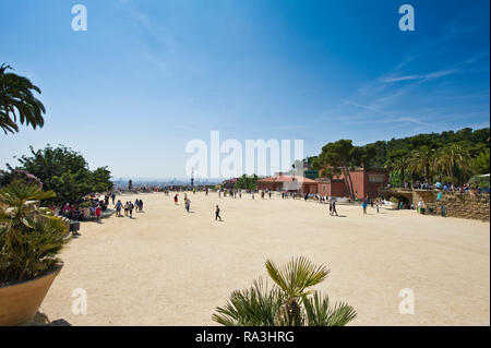 Visitors at Park Guell designed by Antoni Gaudi, Barcelona, Spain - Stock Image