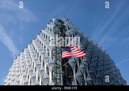 The US Embassy building with the stars and stripes American flag flying in Nine Elms Lane, Wandsworth, West London England UK  KATHY DEWITT - Stock Image