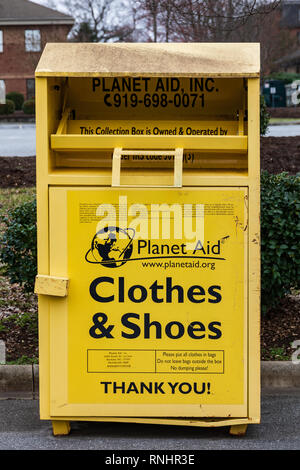 HICKORY, NC, USA-2/17/19: A Planet Aid collection box for donated clothes & shoes. - Stock Image