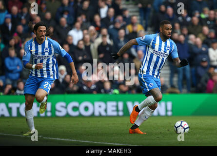 Brighton's Dutch forward Jurgen Locadia (R) during the Premier League match between Brighton and Hove Albion and Leicester City at the American Express Community Stadium in Brighton and Hove. 31 Mar 2018 - Stock Image