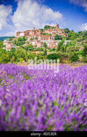 Simiane-la-Rotonde, hilltop village in Provence with lavender fields, France. - Stock Image