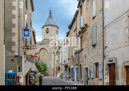 Main street in Nant, Village in Larzac Region, Aveyron dept of France - Stock Image