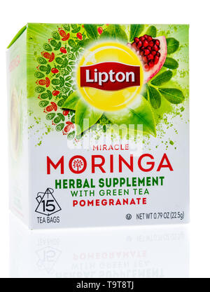 Winneconne, WI - 11 May 2019 : A package of Lipton miracle morniga tea on an isolated background - Stock Image