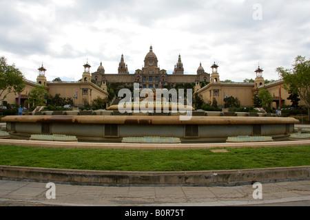 Palau Nacional and Museu Nacional d'Art de Catalunya, Barcelona, Spain - Stock Image