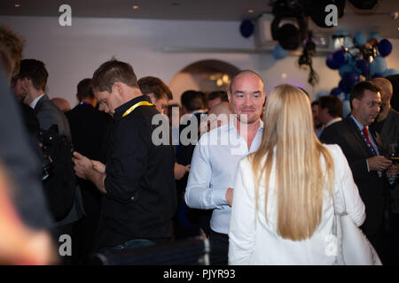 Stockholm, Sweden, September 9, 2018. Swedish General Election 2018.  Election Night Watch Party for Sweden Democrats (SD) in central Stockholm, Sweden. Kent Ekeroth attends. Credit: Barbro Bergfeldt/Alamy Live News - Stock Image