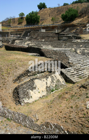 Cholula Archaeological Site with the Great Pyramid of Cholula in the Background, Mexico - Stock Image