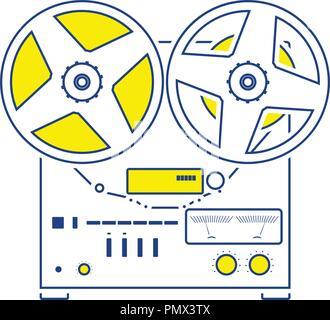Reel tape recorder icon. Thin line design. Vector illustration. - Stock Image