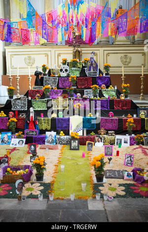 Day of the Dead Decorations inside Templo De La Santísima Trinidad Church in Mexico City - Stock Image