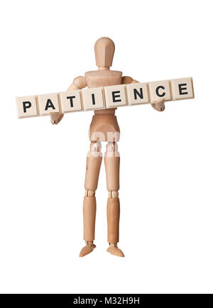 Wooden figurine with the word PATIENCE isolated on white background - Stock Image