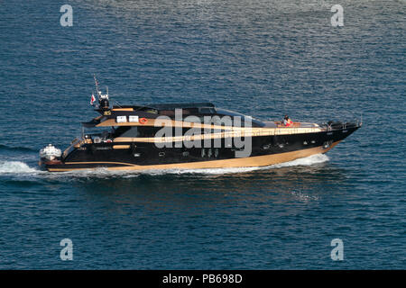 The large yacht (32m) Claremont, built by VBG Super Yachts, cruising at sea - Stock Image