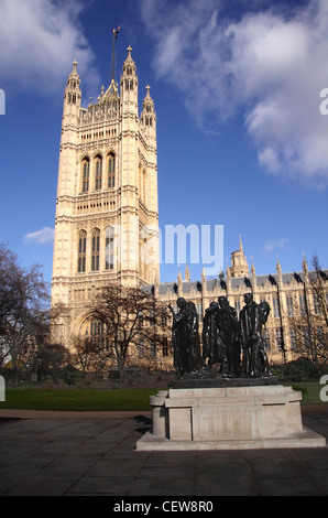 Victoria Tower and Burghers of Calais statue Westminster London - Stock Image